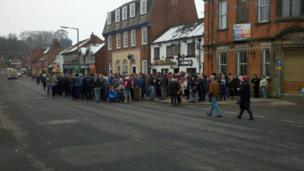 Crowds in the centre of Ashbourne
