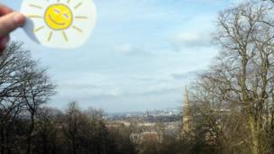 """""""Cheer up folks - Spring is on the way,"""" says Iain Shaw. It looks like Iain makes his own sunshine. """"Another glorious day in Glasgow,"""" he says."""