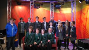 We have just heard from that pupils from St Columb's College, St Cecelia's College, Oakgrove Integrated and Lisneal College took part in Practice News Day at the North East Education and Library Board (NEELB TV) headquarters in Antrim