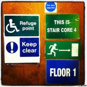 Various signs in the library