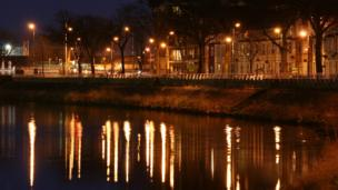 Jasmine Hutter from Cardiff sent in this night-time photo taken in central Cardiff. She says the reflections on the water caught her eye.