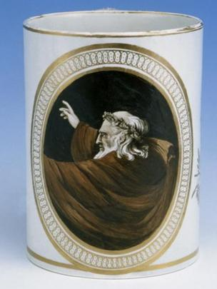 Beer mug, painted with a Druid, Cambrian Pottery, Swansea, about 1805