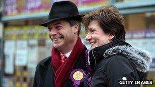 Nigel Farage with UKIP's candidate Diane James