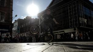 BMX stunt cyclist