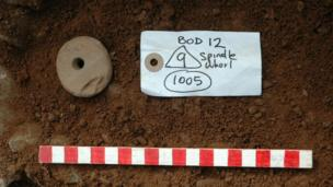Spindle whorl found at Moel y Gaer, Bodfari