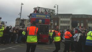 The bus paraded through the city