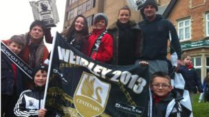 Swansea fans lined the route of the parade
