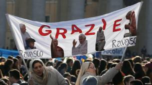A banner thanking Pope Benedict for his service, St Peter's Square, 27 February 2013
