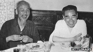 Ho Chi Minh and Chinese Prime Minister Zhou Enlai in Hanoi in 1960