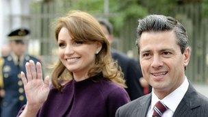 President Enrique Pena Nieto with his wife Angelica Rivera in February 2013