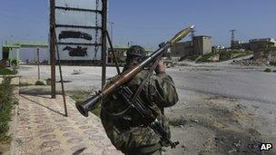 Syrian rebel with an RPG launcher.