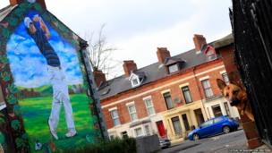 Golfer Rory McIlroy is pictured on a wall in the Holylands area of Belfast