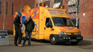 Radio Norwich outside broadcast van at The Forum, Norwich