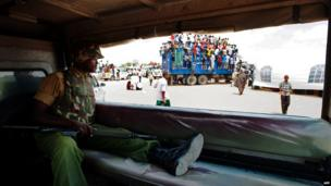A Kenyan Defence Forces (KDF) soldier is pictured during a rally in Garissa, Kenya on 27 February 2013