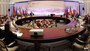 Round table at the talks in Almaty, Kazakhstan