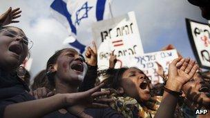 A demonstration against racism by Israeli Jews of Ethiopian origin in front of the Knesset (Israeli Parliament) in Jerusalem, on January 18, 2012