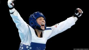 Jade Jones celebrates her gold medal win in the women's 57kg Taekwondo final at the London 2012 Olympics
