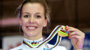 Becky James celebrates gold in the keirin on day five of the UCI Track Cycling World Championships in Minsk, Belarus