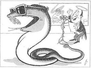 BBC news portrayed as a snake