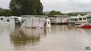 Flooding in Aberystwyth caravan park last June