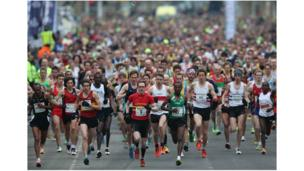 Runners at the start of the Bath Half Marathon