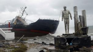 A cargo ship stranded on the shore of Colon city