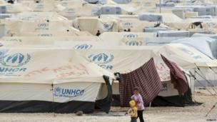 Tents in Zaatari refugee camp