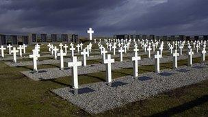 Argentine cemetery on the Falklands