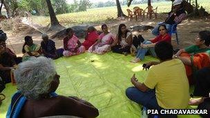 Folkore experts from Chennai with Panayakottai village women in a storytelling circle