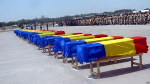 The coffins of 26 Chadian soldiers in Ndjamena on 1 March 2013
