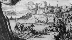 Woodcut of the Kinsale Landing 1689