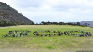 Students from St Andrews High School in St Helena mark the 500-day milestone