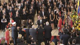 Venezuela's Vice-President Nicolas Maduro presides at the funeral in Caracas on 8/3/13