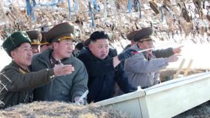 North Korean leader Kim Jong-Un with army generals.
