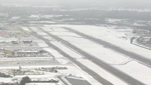 Snowy aerial shots of Gatwick Airport