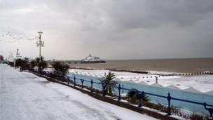Snow covers the sea front in Eastbourne