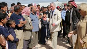Prince Charles and the Duchess of Cornwall meet Syrian refugees in Jordan