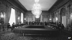 The US delegation, left, and North Vietnamese delegation at Paris peace talks