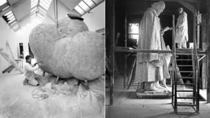 Antony Gormley (courtesy of Anne Purkiss) and G F Watts (courtesy of Watts Gallery Archive)