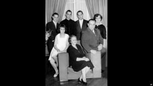 Cardinal Jorge Mario Bergoglio, Archbishop of Buenos Aires, second from left in back row, poses for a picture with his family in an unknown location.
