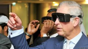The Prince of Wales wears 3D glasses