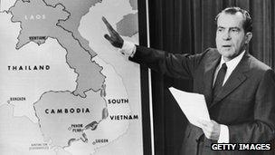 President Nixon in 1970 with a map of Vietnam