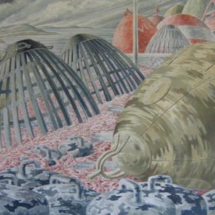 Holyhead, 1955, study for Oswestry mural, by Elsi Eldridge, Private Collection