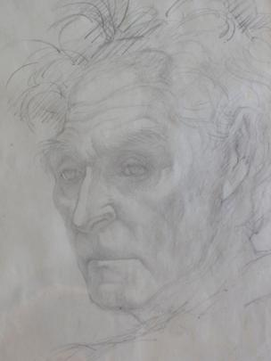 RS Thomas study by Elsi Eldridge, Private Collection