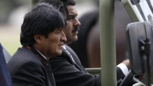 Acting President Nicolas Maduro and Bolivian President Evo Morales. 15 March 2013