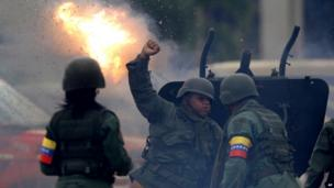 Canon fires salute for Hugo Chavez. 15 March 2013