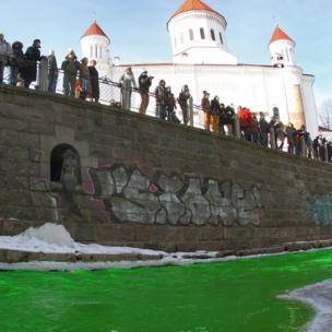 River Vilnele green in Vilnius