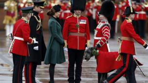 The Duchess of Cambridge and the 1st Battalion Irish Guards at Mons Barracks in Aldershot