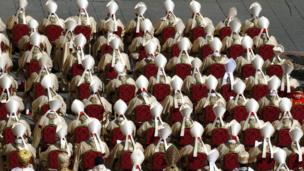 Cardinals attend Pope Francis' inaugural Mass in St Peter's Square at the Vatican