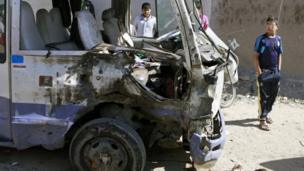 Bus destroyed in one of several car bomb attacks in the Shia stronghold of Sadr City, Baghdad